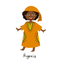 Girl in nigeria country national clothes wearing vector