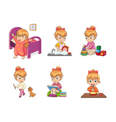 Girls activities collection vector