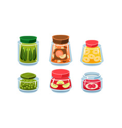 glass jars with preserved food vector image