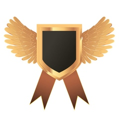 Gold medal with wings vector