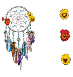 hand drawn ornate dreamcatcher with flowers vector image