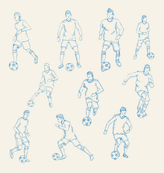Hand drawn Sketch football soccer player action vector