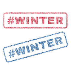 Hashtag winter textile stamps vector