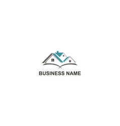 Home roof construction realty company logo vector