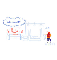 home television controlled by man smart tv tech vector image