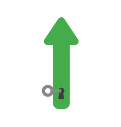 Icon concept of arrow moving down with key into vector