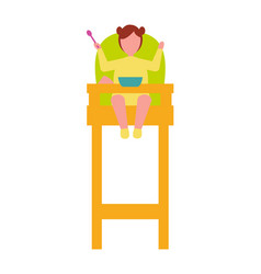 Infant child sit in high chair with spoon in hand vector
