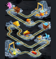 Isometric mining game level template vector