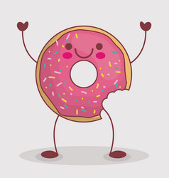 kawaii donut icon vector image