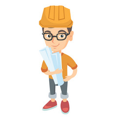 Little caucasian engineer boy holding paper plans vector