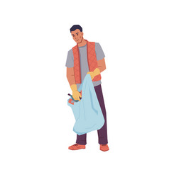 man in rubber gloves collect litter in bag isolate vector image
