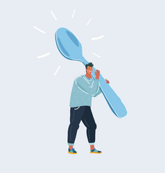 man with very big spoon on white vector image
