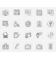 Media sketch icon set vector