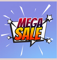 mega sale banner in comic style vector image