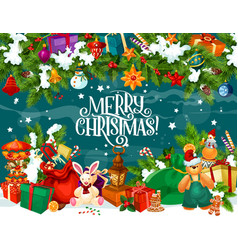 merry christmas poster with present boxes and toys vector image