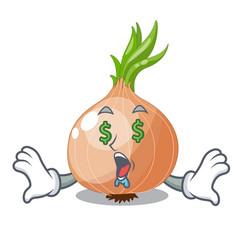 Money eye cartoon ripe onion in the kitchen vector