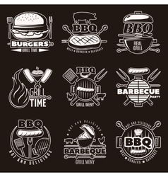 Monochrome Barbecue Emblems Set vector