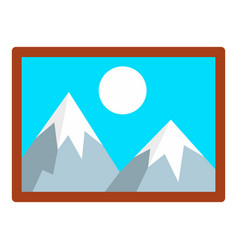 mountain wall picture icon flat style vector image