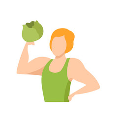 muscular man holding a cabbage healthy eating vector image