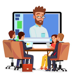 Online video conference man and chat vector