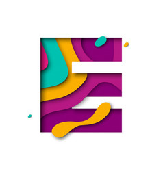 Paper cut letter e realistic 3d multi layers vector