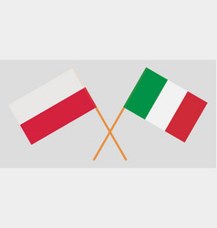poland and italy crossed polish and italian flags vector image