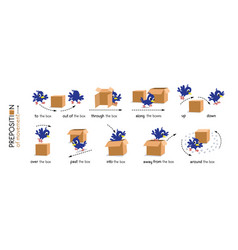 Preposition movement bird and box vector