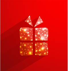 Red gift box made of polygonal and lights effect vector image