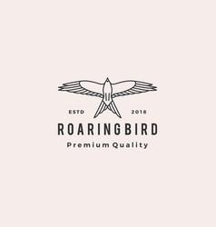 roaring bird logo retro hipster vintage icon vector image