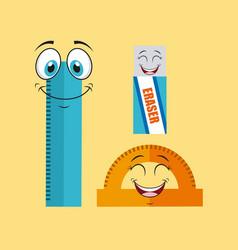 school supplies characters design vector image