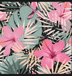 seamless floral summer pattern background vector image
