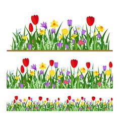 seamless flowers border vector image