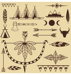 Set american indians objects vector