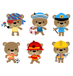 Set funny bear with various profession vector