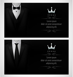 Set of black tuxedo business card templates and vector