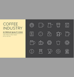 set of thin coffee elements and coffee vector image