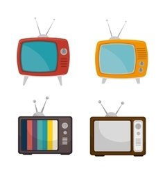 set tv retro vintage graphic vector image