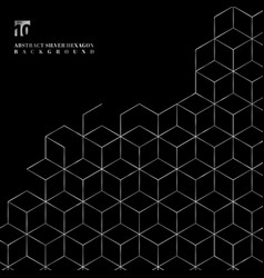 Silver hexagons border pattern on black background vector
