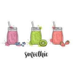 Smoothies with fruit and berries vector