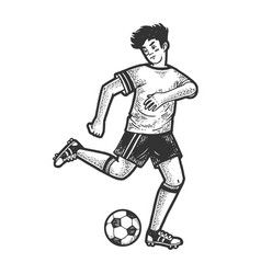 soccer player with ball sketch engraving vector image