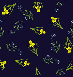 spring seamless pattern with iris and forget-me vector image