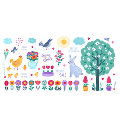 spring set hand drawn flowers birds rabbit and vector image
