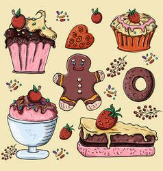 Sweet pastries cupcake cakes gingerbread man vector