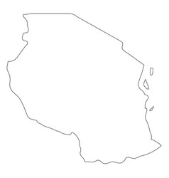 tanzania - solid black outline border map of vector image