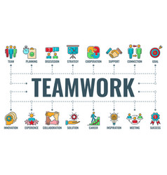 teamwork collaboration typography banner vector image