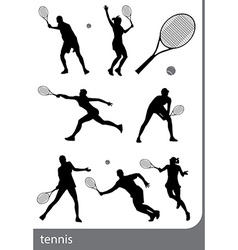 Tennis silhouette set isolated vector