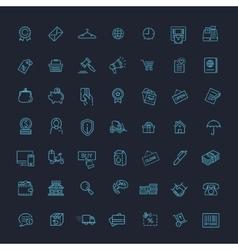 Thin lines web icons set - E-commerce shopping vector image