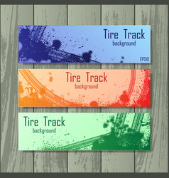 Tire tracks style banners vector