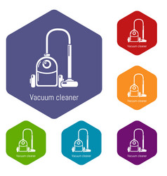 vacuum cleaner icons hexahedron vector image