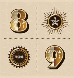 Vintage western numbers alphabet letters font vector